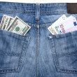 Jeans with currency in their pockets — Stock Photo #23382846