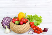 Vegetables on a wooden background — Stock Photo