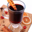 Glass of mulled wine and ingredients , selective focus — Stock Photo