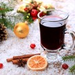 Christmas mulled wine in the snow — Stock Photo