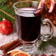 Mulled wine with candy stick — Stock Photo #30438143