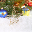 Christmas composition with snow and vintage decoration  — Stock Photo