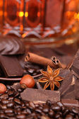 Mixture of pieces of chocolate spices and nuts close-up, selecti — Stock Photo