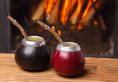 Hot mate in calabashes — Stock Photo