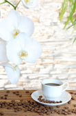 Black coffee and orchid  — Stock Photo