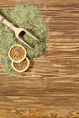 Background - yerba mate on a wooden table — Stock Photo