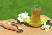 Green tea with jasmine — Stock Photo