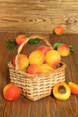Apricots in a wicker basket  — Stock Photo