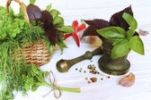 Spices and herbs on a  light wooden background — Stock Photo