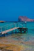 Empty pier in Balos Lagoon on Crete, Greece — Stock Photo