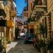 Traditional colorful street in Chania, Greece - Stock Photo
