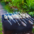 Pork meat (shashlik) on grill in a smoke — Stock Photo