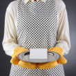 Stock Photo: Homemaker Holding Tray with Blank Card