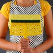 Stock Photo: Housewife Holding Sponge Mop