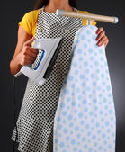 Housewife With Iron and Ironong Board — Stock Photo