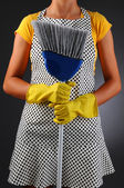 Housewife Holding Broom — Stock Photo