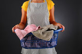 Housewife with Laundry Basket — Stock Photo