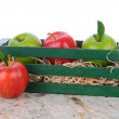 Gala and Granny Smith Apples in Wood Box — Stock Photo