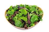Salad Greens in Wood Bowl — Stock Photo