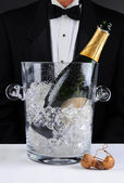 Waiter Standing Behind a Champagne Bucket — Stock Photo