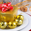 Holiday Table with Present — Foto Stock