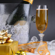 Champagne and Presents — Stock Photo