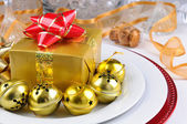 Holiday Table with Present — Stock Photo