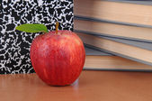 Apple on Teachers Desk — Stock Photo