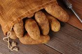 Burlap Sack of Potatoes on Wood — Stock Photo