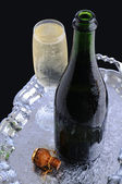 Champagne Bottle and Flute on Tray — Stock Photo