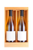 Two White Wine Bottles in Wood Case — Stock Photo