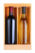 Cabernet and Chardonnay Bottles in Wood Box — Stock Photo
