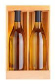 Two Chardonnay Bottles in Wood Box — Stock Photo