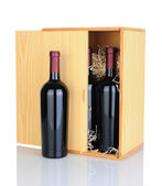 Gift Box of Red Wine Bottles — Stock Photo