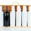 Tissue Wrapped Wine Bottles in Wood Case — Stock Photo