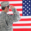 Stock Photo: Soldier Saluting American Flag