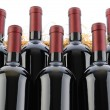 Stock Photo: Cabernet sauvignon Wine Bottles in Crate with Straw