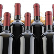 Cabernet sauvignon Wine Bottles in Crate with Straw - Stock Photo