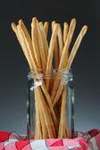 Palitos de pan en tarro — Foto de Stock