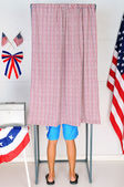 Young Voter in Voting Booth — Stock Photo
