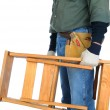Construction Worker Carrying Ladder - Stock Photo