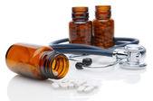 Medicine Bottles and Stethoscope — Stock Photo