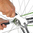 Closeup of a Bicycle Remairman's Hands — Stock Photo #23195388