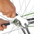 Closeup of a Bicycle Remairman's Hands — Stok fotoğraf #23195388