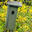 Bird House in Field of Flowers — Stock Photo