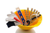 Hard Hat With Tools — Stock Photo