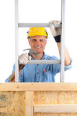 Carpenter With Ladder and Hammer — Stock Photo