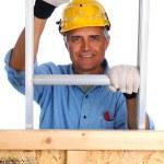 Construction Worker Climbing Ladder — Stock Photo