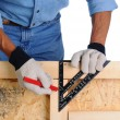 Carpenter with Framing Square — Stock Photo