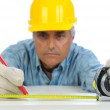 Construction Worker Measuring and Marking — Stock Photo